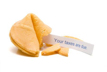 Fortune cookie met het bericht dat uw belastingen verschuldigd zijn.