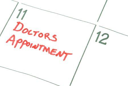 Een agenda-herinnering voor een afspraak artsen Stockfoto