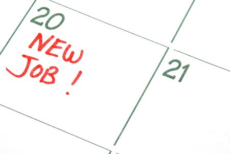 A calendar entry reminding of a New Job