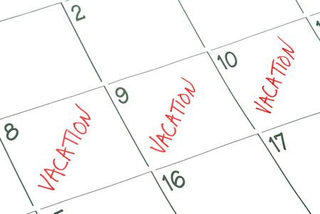 A calendar with vacation days marked off Stock Photo