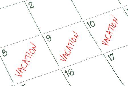 Een kalender met vakantiedagen gemarkeerd