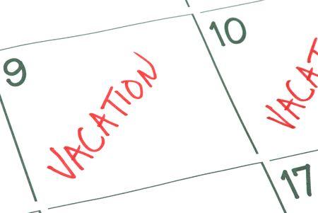 Een kalender met vakantie dagen gemarkeerd. Stockfoto