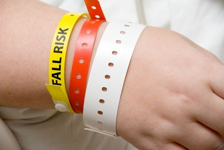 A Fall Risk Bracelet on the arm of a patient