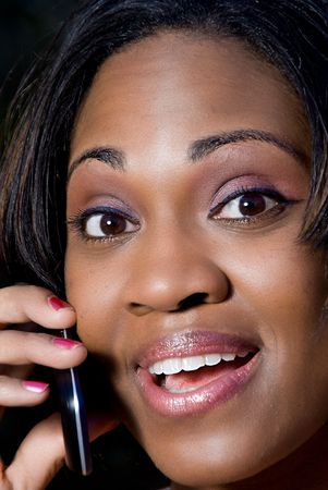 An African American woman talking on the phone Stock Photo - 6505219