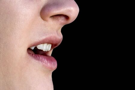 mouth close up: The open mouth of a beautiful woman Stock Photo