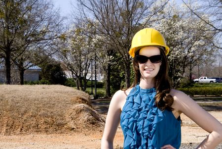 A Female Construction Worker on a job site. Stock Photo - 6720755