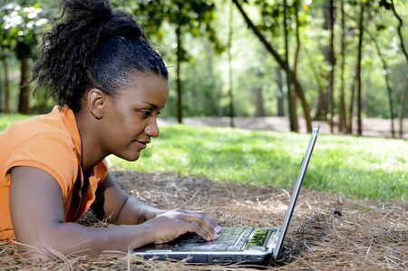 A college student working on a laptop Stock Photo - 6916437