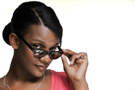 hot chick: A black woman sporting a pair of sunglasses Stock Photo