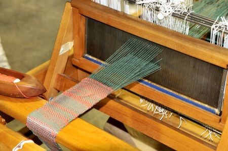 loom: A Hand Loom used to weave cloth Stock Photo