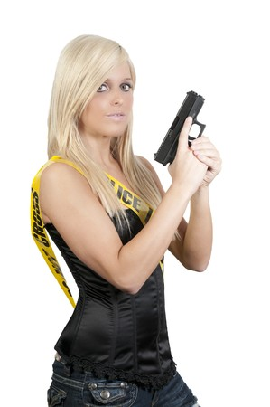 45 gun: Ayoung and beautiful woman holding a handgun Stock Photo