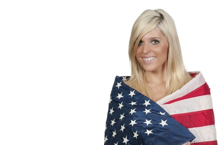 hot chick: A beautiful young woman wrapped in a flag.