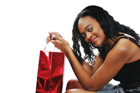 A young black woman on a shopping spree photo