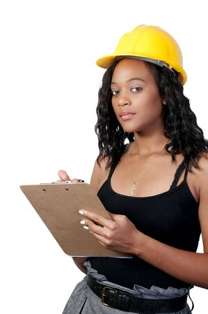 A Female Construction Worker on a job site. Stock Photo - 7365153