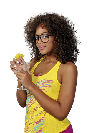 A beautiful African American woman holding wine glasses photo