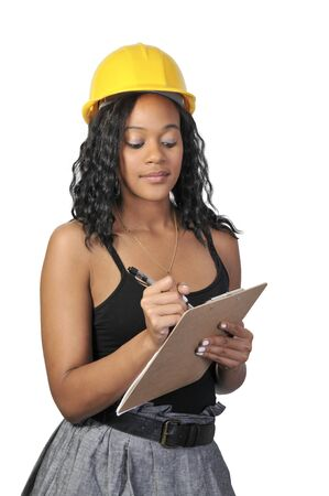 A Female Construction Worker on a job site. Stock Photo - 7462033