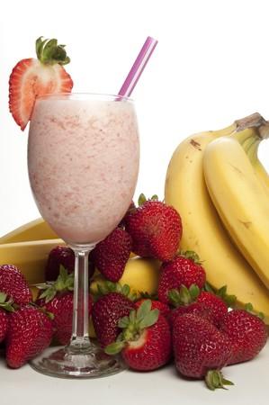 おいしいいちごのバナナのスムージーやダイキリ 写真素材