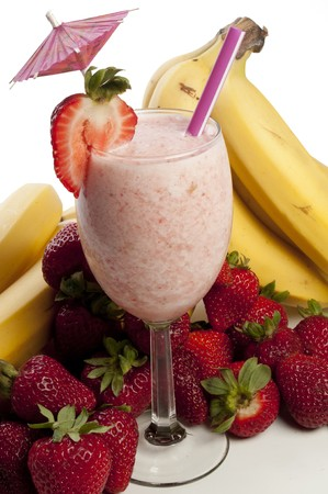 A delicious Strawberry Banana Smoothie or daiquiri photo