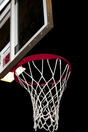 b ball: A basketball goal wating for a game to start.
