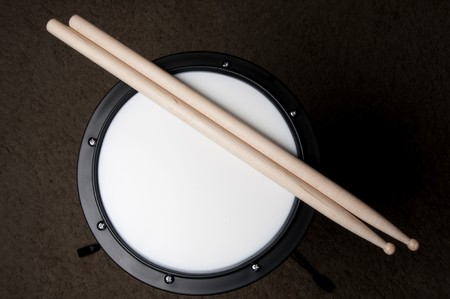 instructional: An instructional Drum Practice Pad used for learning drums Stock Photo