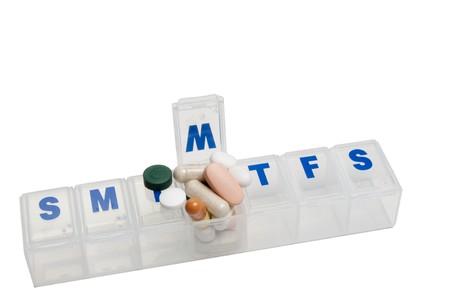organizer: Prescription pills in a medicine dose box