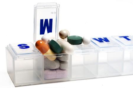 dose: Prescription pills in a medicine dose box