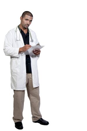 A handsome male doctor in a lab coat photo