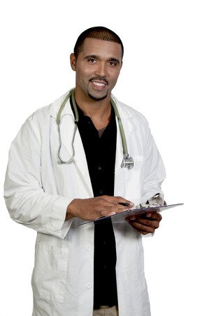 medical laboratory: A handsome male doctor in a lab coat