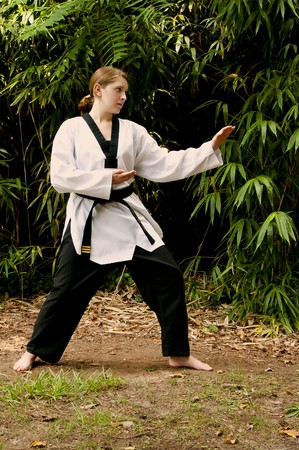 A young teenage girl practicing her Karate moves Stock Photo - 7838283