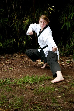 A young teenage girl practicing her Karate moves photo
