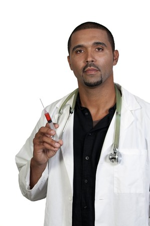 An African American doctor holding a syringe photo