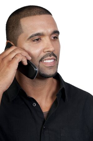 An African American man talking on the phone Stock Photo - 7832167