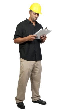 ppe: A male construction worker a job site.