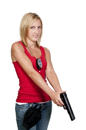 sexy police: A beautiful police woman on the job Stock Photo