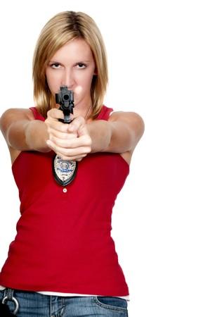 mujer policia: Una mujer hermosa de polic�a en el trabajo