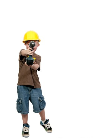 inspector kid: A little boy dressed for a construction job