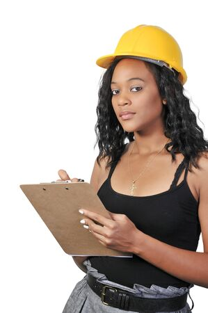 A Female Construction Worker on a job site. Stock Photo - 7956646