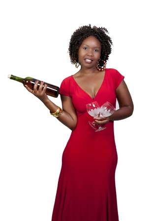 A beautiful African American woman holding wine  photo