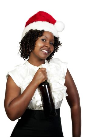 A black woman with wine wearing a Santa hat photo