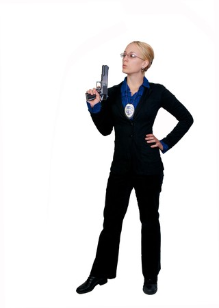 A beautiful police woman on the job Stock Photo - 8046512