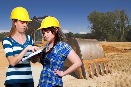 construction machinery: A Female Construction Worker on a job site. Stock Photo