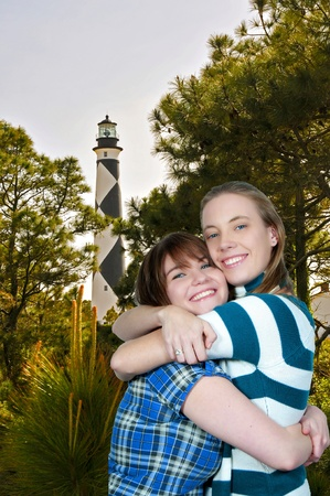best: A couple of best friend beautiful women on vacation Stock Photo