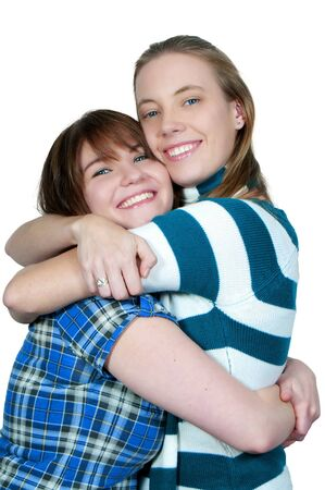 best: A couple of beautiful young women who are the best of friends Stock Photo