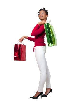 A young black woman on a shopping spree Stock Photo - 8305663