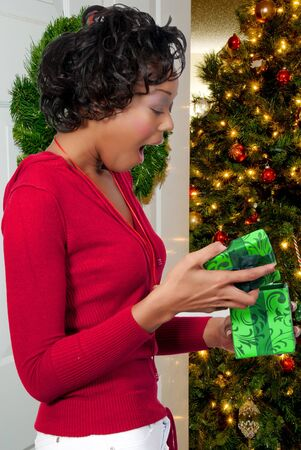 A beautiful young black woman holding a Christmas present photo