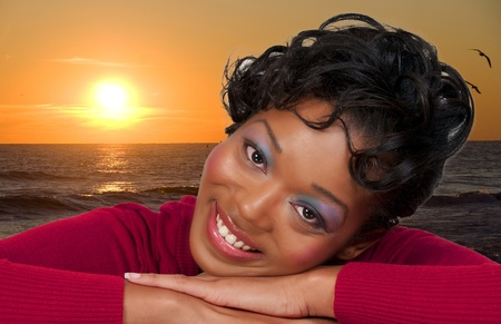 A very beautiful African American black woman with a big smile photo