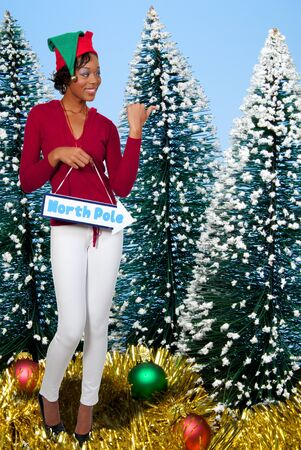 a beautiful black woman elf holding a north pole sign photo