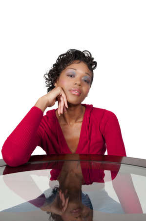 A very beautiful African American woman with a big smile thinking Stock Photo - 8671904