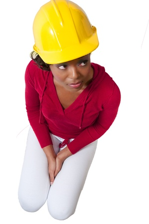 A beautiful black Female Construction Worker on a job site. Stock Photo - 8671851