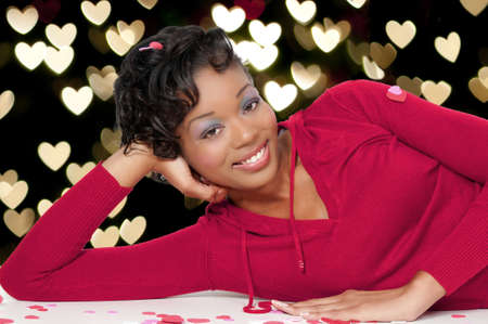 A beautiful young black woman on Saint Valentines day. photo
