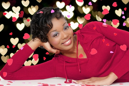 A beautiful young black woman on Saint Valentine's day. Imagens